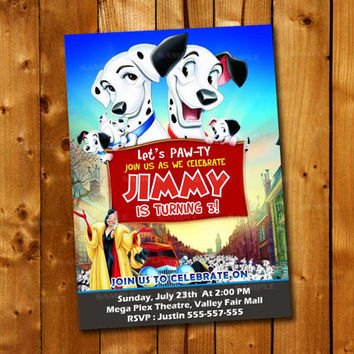 101 Dalmatians Colorful Blue Red, Birthday Invitation for little boy and little girl
