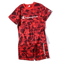 Bape X Champion Women Men Popular Camouflage Print Short Sleeve Top Shorts Pants Sweatpants Set Two-Piece Sportswear