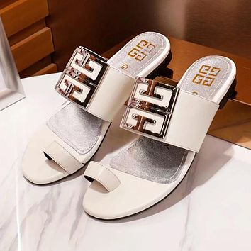 GIVENCHY Stylish Women Casual Leather Sandals Slipper Shoes White