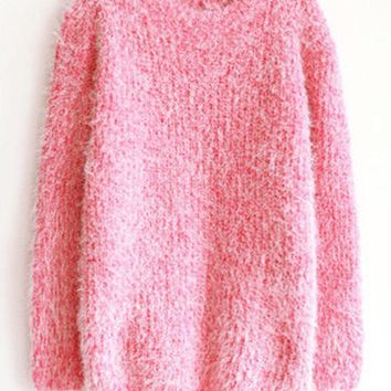 Solid Color Pullover Mohair Sweaters
