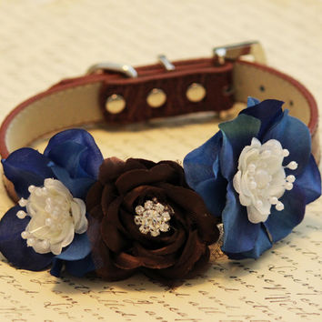 Brown and Blue Floral Dog Collar, Earth and Sky, floral wedding pet ideas