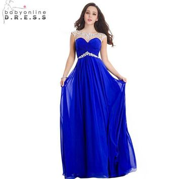 Elegant A Line Royal Blue Long Chiffon Bridesmaid Dresses 2017 Heavy Beaded Party Dress Prom Dress Robe De Soiree