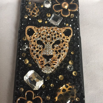 Iphone 6 cell phone case, leopard cell case, bling cell phone case, gold and black cell phone case, cabochon cell phone case