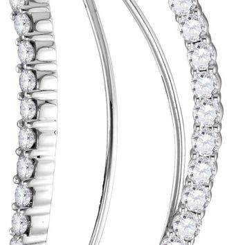 14kt White Gold Womens Round Diamond Curved Bowed Climber Earrings 1.00 Cttw