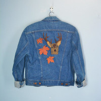 Wrangler Vintage Jacket / Deer Autumn Embroidered / 80s Denim Jacket