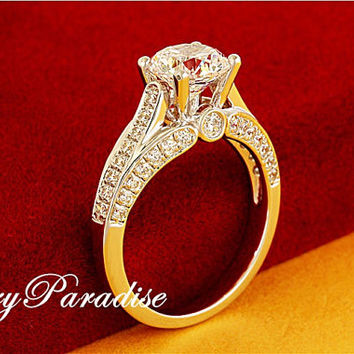 Art Deco 1.25 Ct (7 mm) Round Cut man made Diamond 3 Sides Pave Band Engagement Wedding Promise Ring- made to order ( FairyParadise)