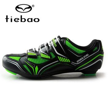 TIEBAO Breathable Upper Cycling Shoes Self-locking Bike Shoes Road Bike Shoes Bicycle Sapatilha Ciclismo Cycling SPD Cleat