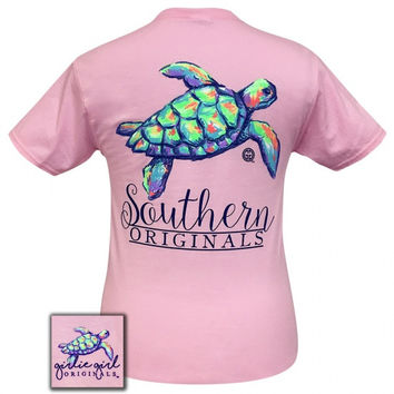 Girlie Girl Originals Preppy Watercolor Turtle T-Shirt