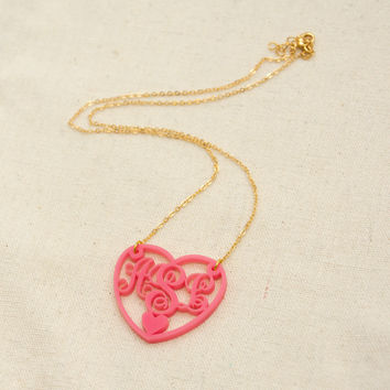 Heart Love Monogram Necklace, Valentine Gift Custom handmade jewelry