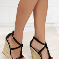 Way You Look Tonight Black Espadrille Wedges