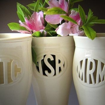 INFO on Custom Monogram Vase - Wedding, commitment ceremony / bridesmaid gift - handmade to order