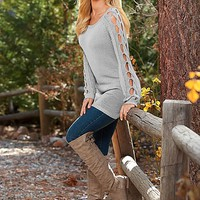 LIGHT GREY Sleeve detail tunic sweater, skinny jean, boot from VENUS
