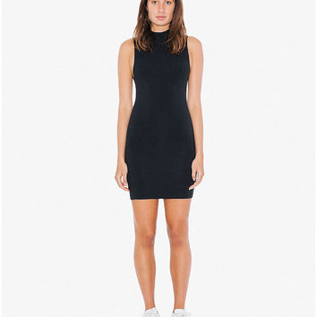 Cotton Spandex Sleeveless Mock Neck Cutout Mini Dress | American Apparel