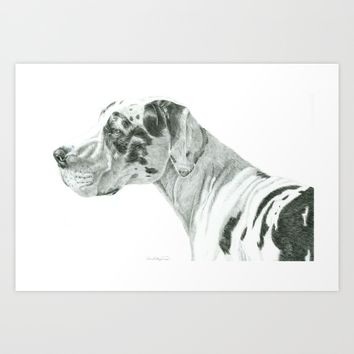 Great dane - harlequin Art Print by Doggyshop