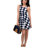White & Navy Houndstooth Belted Flare Dress