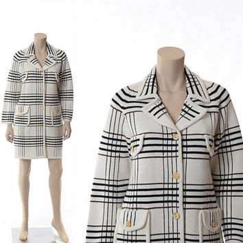 Vintage 60s Mod Lilly of California Knit Coat Dress 1960s Carnaby Street Plaid Cardigan Sweater Mini Dress Hipster Twiggy Jacket / Small