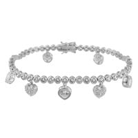 Heart Charms Ladies Bracelet Tennis Round Link 14K White Gold Finish