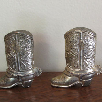 Gold Metal Cowboy Boots Salt and Pepper Shakers | Shabby Chic | gold home decor | country farmhouse decor