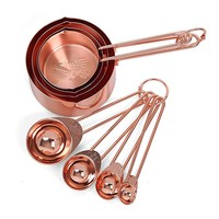 Copper Stainless Steel Measuring Cups and Spoons set of 8 Engraved Measurements, Pouring Spouts & Mirror Polished for Baking and Cooking - 60ml 80ml 125ml 250 ml