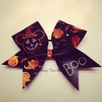 Orange and Black Halloween Large Cheer Bow by NoveltyCheerBows
