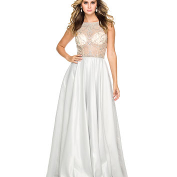 Preorder -  Silver & Nude Embellished Sheer Bodice Gown 2015 Homecoming Dresses