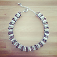 Bib statement necklace - silver chunky chain