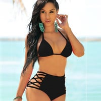 2017 Trending Fashion Women Sexy High Waisted Two-Piece Solid Erotic Bikini Swim Suit Beach Bathing Suits Swimwear _ 13141