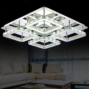 Large Square L80* W80CM Design Modern LED Crystal Ceiling Light 4-lights Lustres Home Decoration Luminaria teto