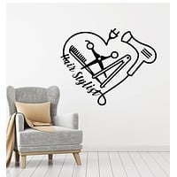 Vinyl Wall Decal Hair Stylist Comb Scissors Hairdryer Barber Tools Stickers Mural (g1767)