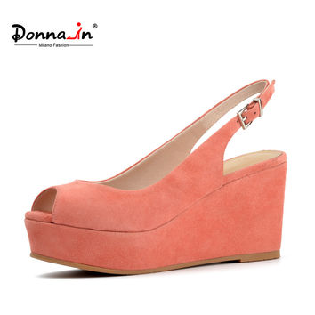 Donna-in 2017 summer new open toe platform pink sheepskin suede high-heeled wedge genuine leather ladies sandals