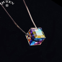 925 Sterling Silver Fashion Elements Crystal Magic Cube Necklaces