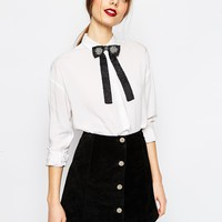 ASOS Embellished Bow Neck Tie at asos.com