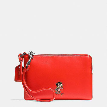 Coach X Baseman Corner Zip Wristlet in Leather