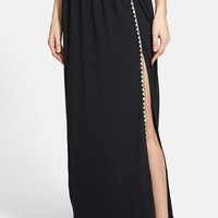Women's Olive & Oak Embroidered Side Slit Maxi Skirt,