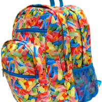 Bright Candy Worms Backpack. Candy Themed Backpack. Emoji Style.