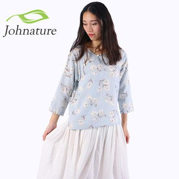 DCCKWQA Johnature 2016 Autumn Cotton Linen Floral Chinese Style O-neck Women Shirt New Three Quarter Sleeve Button Girl Top Blouse