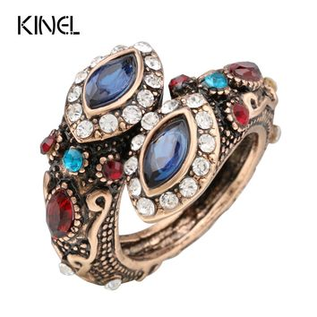 Kinel Unique Crystal Ring Color Ancient Gold Vintage Look Double Head Blue  Rings For Women Bohemia Jewelry