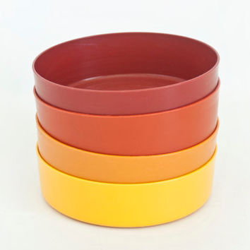 Vintage Tupperware Wonder Bowls, Straight Sided Harvest Colors, Snack Salad Bowls, Storage Containers (no lids)