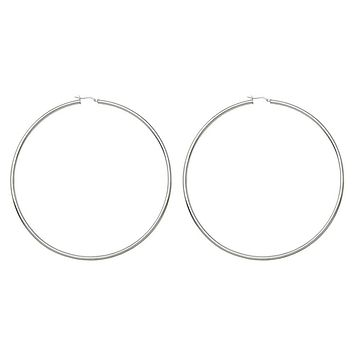 Huge Sterling Silver Thick Rhodium-Plated Click-Down Hoop Earrings (3mm Thick), 100mm Mega-Hoops