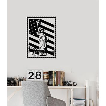 Vinyl Wall Decal Postage Stamp Statue Of Liberty American Flag Stickers (3785ig)