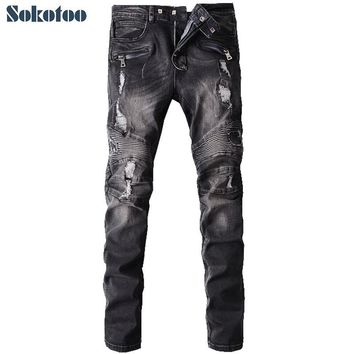 Sokotoo Men's fashion hole ripped biker jeans Male casual vintage black patch washed denim pants Long trousers