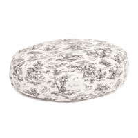 Dog Toile Round Bed | Black