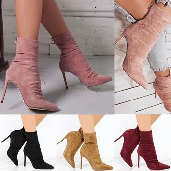 Women's Boots High Heel Shoes Ankle Booties Short Pointed Toes
