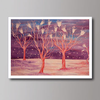 Abstract Landscape Trees, Fantasy white flowers, Contemporary Modern Art PRINT,  Living room decor, Abstract Tree Painting, Wall decoration