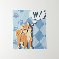 Thoughtful Shiba Inu Tapestry