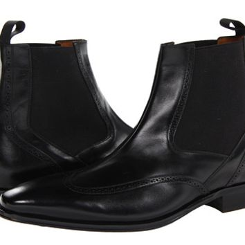 Mezlan Black Leather Center Seam Wingtip Boots