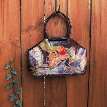 Leather Parrot Handbag, Hand Tooled Floral Handbag, Small Tote Bag, Made in India, Vintage 1970's Bag, Womens Leather Purse