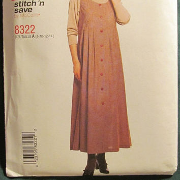 SALE Uncut McCall's Sewing Patterns, 8322! 8-10-12-14 Small/Medium/Women's/Misses/Button up Dress/Jumper/Sleeveless/Loose Fitting/Casual