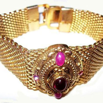 "Art Deco Gold Mesh Bracelet Pink Cabochons Panther Links Liked Clasp BIG Chunky 7 3/4"" Vintage"