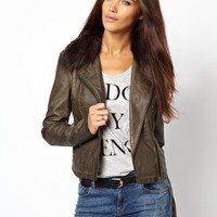 River Island | River Island Leather Look Double Zip Biker Jacket With Fur Collar at ASOS